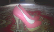 Туфли розовые на каблуке